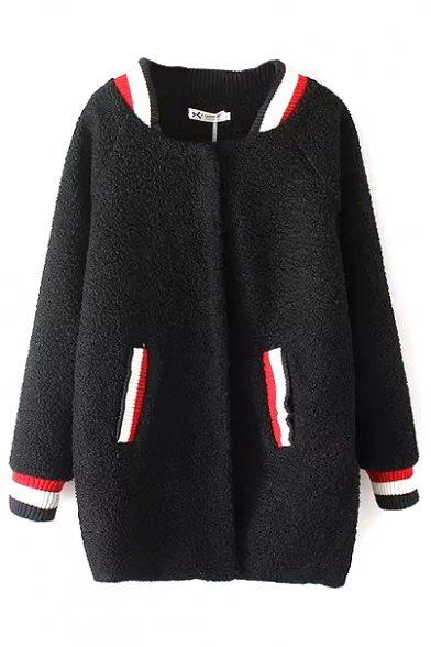 Stripe Trims Long Sleeve Double Pockets Long Padded Coat