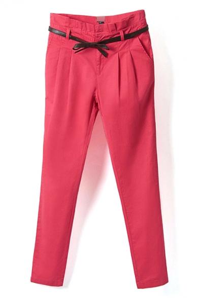 Zipper Fly Cigarette Plain High Waist Pants