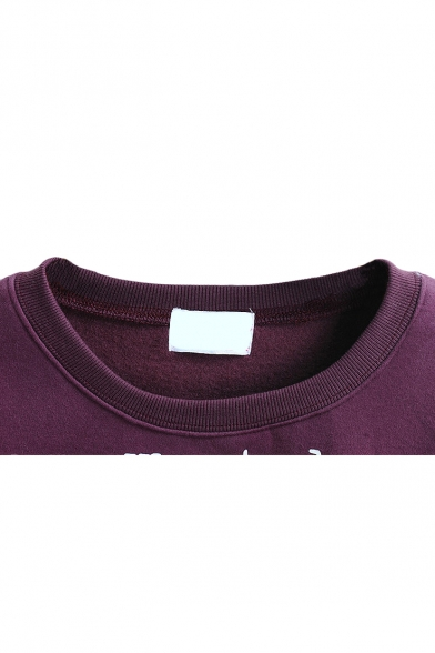 Cartoon & Letter Print Long Sleeve Round Neck Sweatshirt