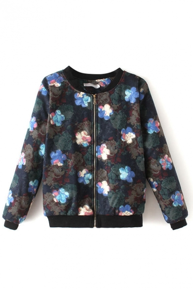 Floral Print Padded Stand Up Neck Tweed Jacket