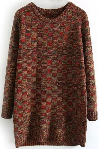Dark Plaid Neck Sweater Round Long Loose wqF5WCY