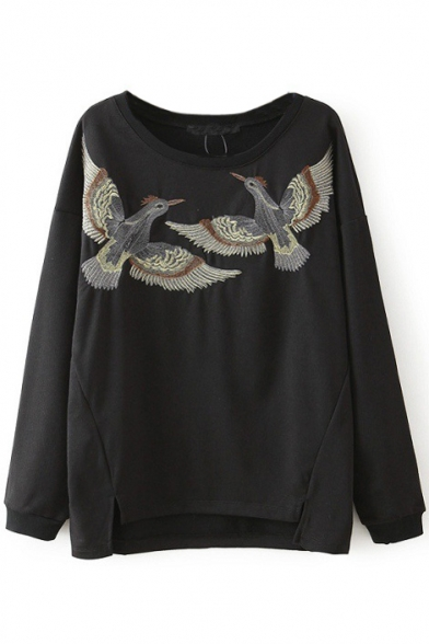 Round Neck Long Sleeve Bird Embroidery Sweatshirt