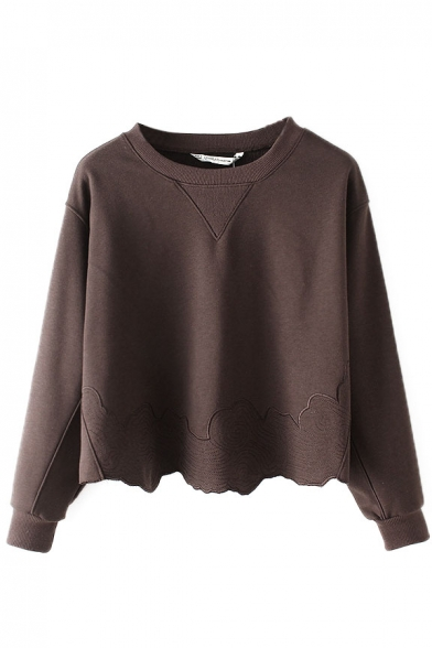 Sweatshirt Sleeve Pullover Round Embroidery Long Neck Plain q4fY1wP
