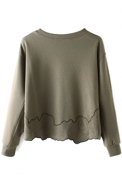 Neck Round Plain Pullover Embroidery Long Sleeve Sweatshirt P88qrd