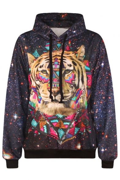 Tiger Print Sleeve Sweatshirt Hooded Long xzvxBP