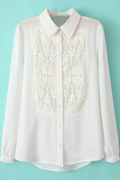 Button Down Lace Patchwork Long Sleeve Shirt