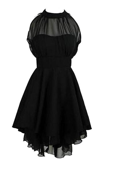 Halter Chiffon Plain A-Line Short Dress