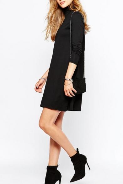 High Neck Long Sleeve Plain Black Dress - Beautifulhalo.com