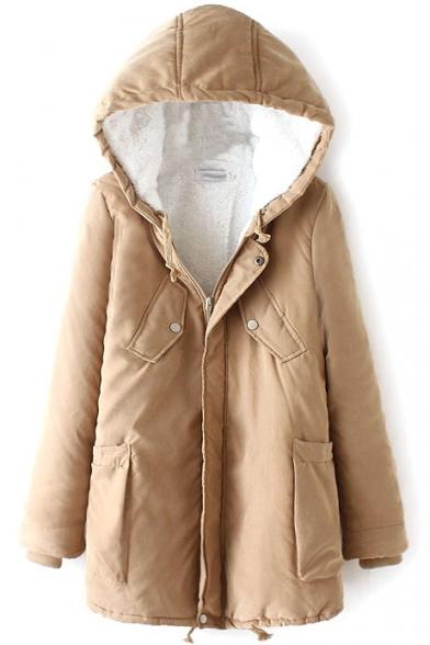 Hooded Long Sleeve Zipper Plus Velvet Coat