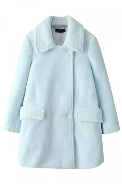 Lapel Double Breasted Plain Tweed Belt Waist Coat