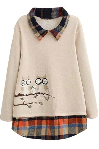 Lapel Long Sleeve Patchwork Tunic Sweatshirt
