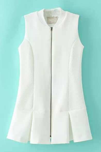 Stand Up Neck Sleeveless Zipper Long Vest