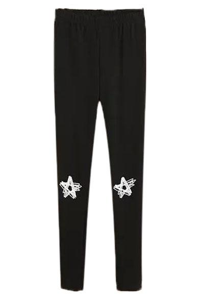 Star Print Elastic Waist Skinny Leggings