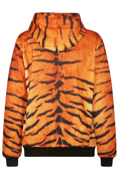 Long Hooded Sweatshirt Tiger Sleeve Print xOqfvgw7