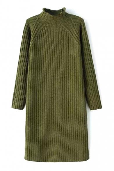 High Neck Long Sleeve Plain Knit Dress