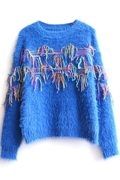 Tassel Sweater Long Mohair Sleeve Colored 5aqTwPY