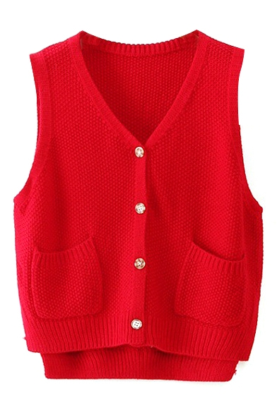 Plain Sleeveless Button Down Double Pockets Knit Vest