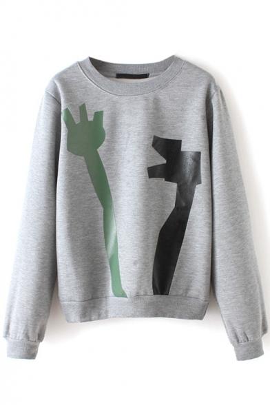 Round Neck Long Sleeve Print Long Sleeve Sweatshirt