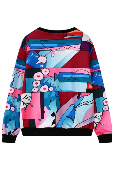Sweatshirt Round Print Long Neck Pullover Sleeve wHFvPqS