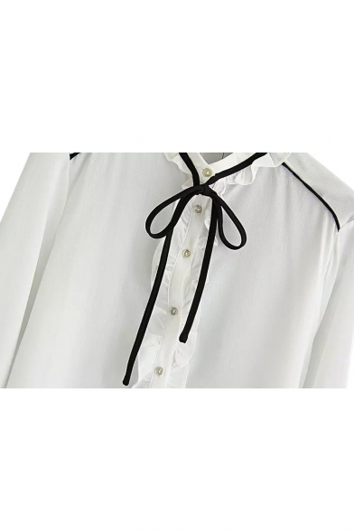Tie Neck Ruffle Hem Long Sleeve Button Down Shirt