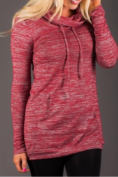 Turtleneck Long Sleeve Plain Long Sweatshirt