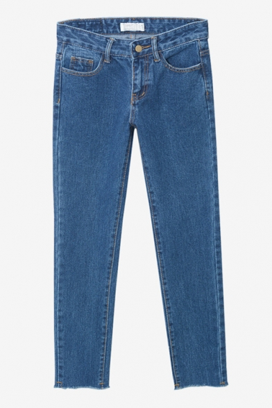 High Waist Straight Blue Raw Edge Plain Cropped Jeans