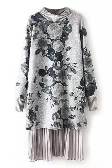 Ink Floral Print Patchwork False Two-Piece Tweed Midi Dress