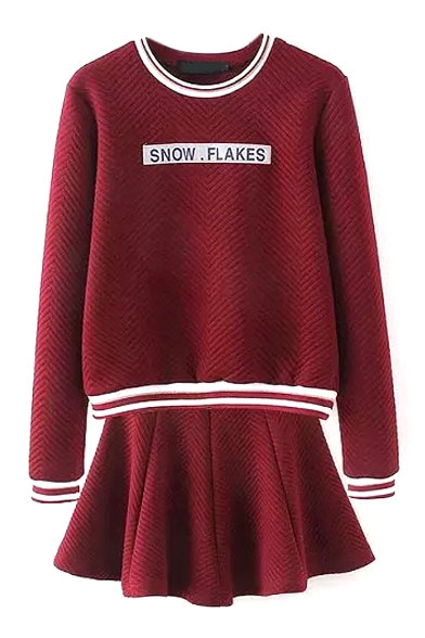 Letter Print Sweatshirt with A-Line Mini Skirt