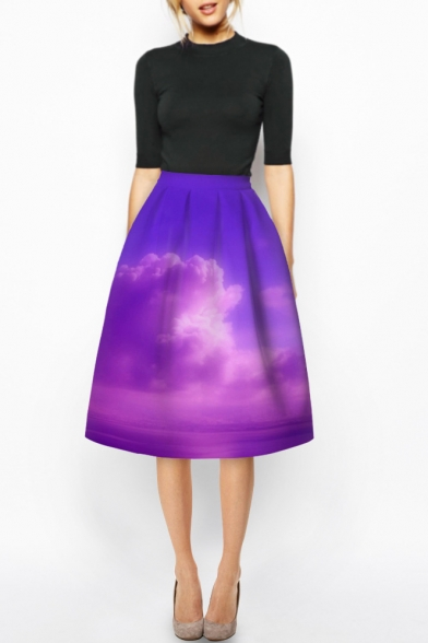 Purple High Waist 3D Cloud Sky Print A-Line Midi Skirt