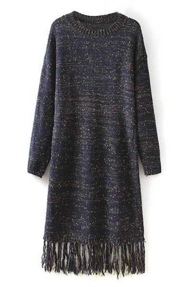 Round Neck Color Point Detail Tassel Hem Long Sweater