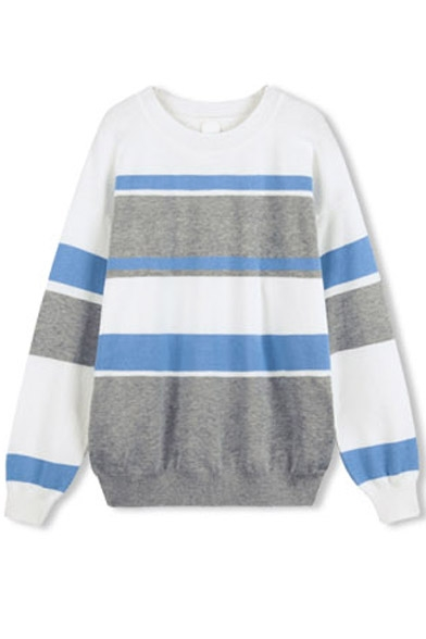 Round Color Sleeve Block Long Stripes Sweater Neck UrUW4Tq0