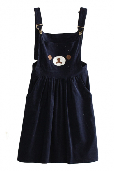 Cute Bear Embroidery Double Pockets Loose Midi Overall Dress