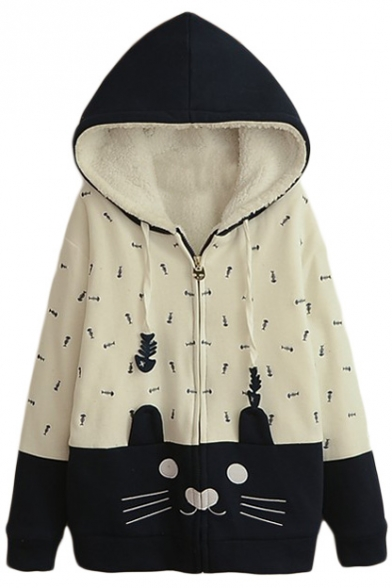 Fish Bone Embroidery Zipper Hooded Color Block Coat