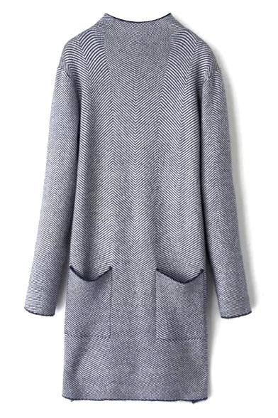 High Neck Double Pockets Chevron Longline Loose Sweater