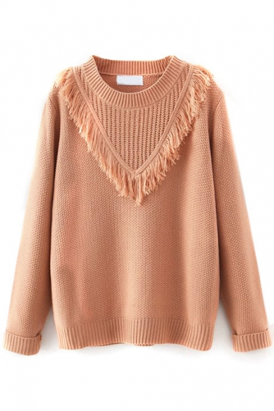 Plain Round Neck V Tassel Detail Long Sleeve Sweater