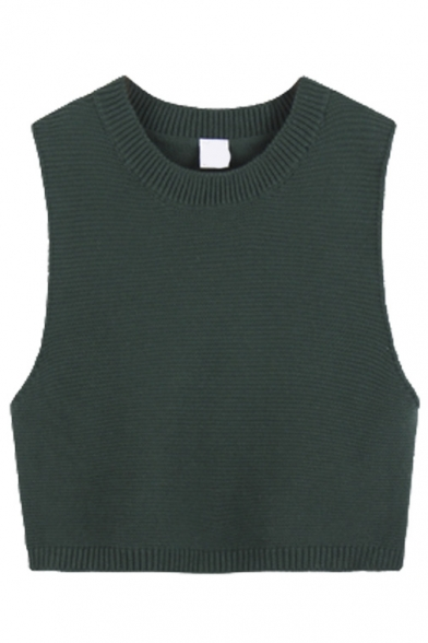 Round Neck Sleeveless Cropped Plain Knit Vest