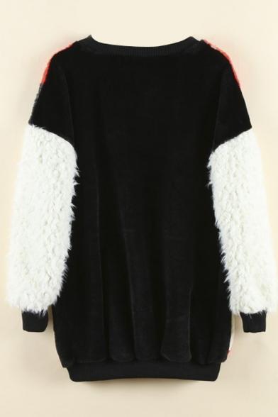 Star & Letter Print Color Block Fur Patchwork Sweatshirt