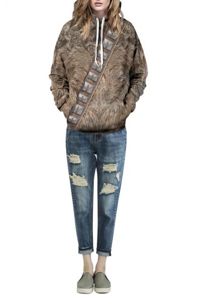 Brown Animal Fur Print Long Sleeve Hooded Sweatshirt