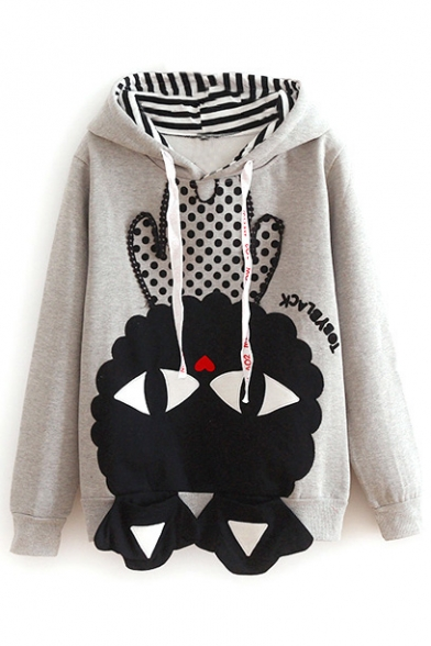 Cute Cartoon Print Hooded Double Pockets Patchwork Sweatshirt