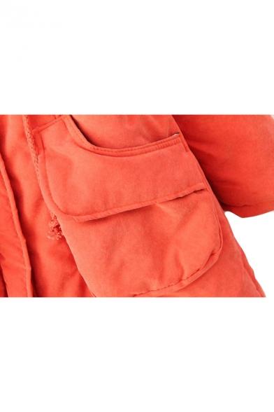 Drawstring Waist Zipper Hooded Letter Patchwork Padded Coat