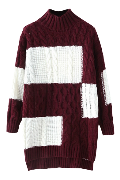 High Neck Color Block Cable Knit High Low Thicken Sweater