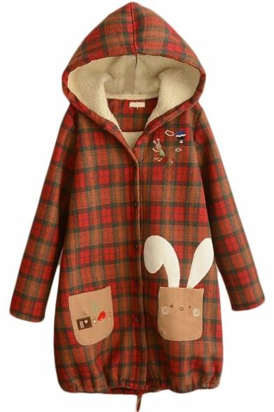 Hooded Cartoon Embroidery Plaid Wool Lining Long Tweed Coat