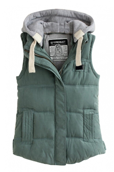 Hooded Color Block Zipper Thicken Padded Vest
