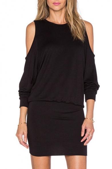Plain Cold Shoulder Long Sleeve Round Neck Knit Mini Dress