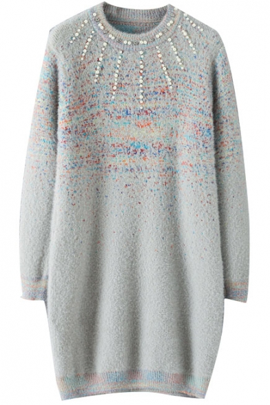 Round Neck Beading Front Colored Detail Long Sweater