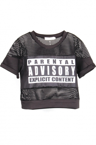 Round Neck Gauze Patchwork Letter Print Cropped Tee
