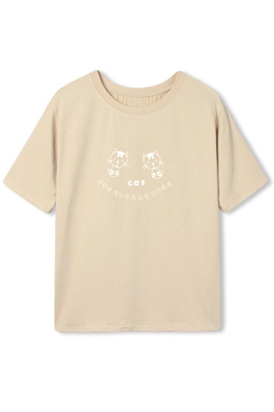 Round Neck Short Sleeve Cute Cat & Letter Print Tee