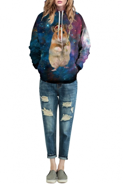Crown Hamster & Galaxy Print Hooded Long Sleeve Sweatshirt