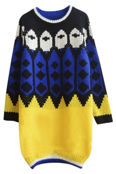 Geometric Patchwork Chunky Knit Long Round Neck Sweater