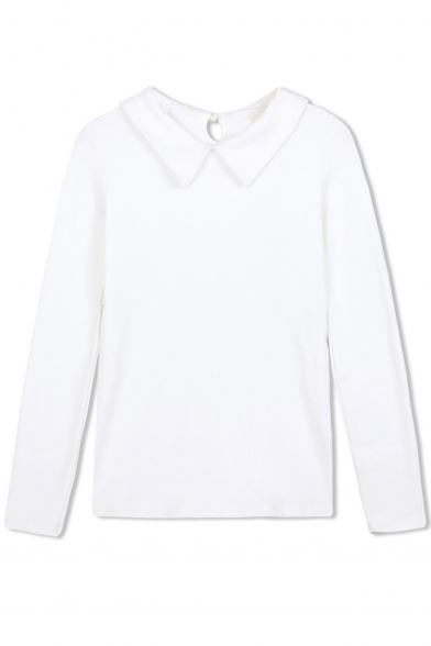 Lapel Plain Cutout Back Long Sleeve Tee xwF6xBr